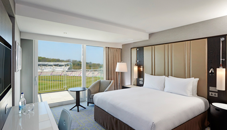Ageas Hilton Bedroom overlooking Ageas Bowl Cricket Pitch, Hampshire