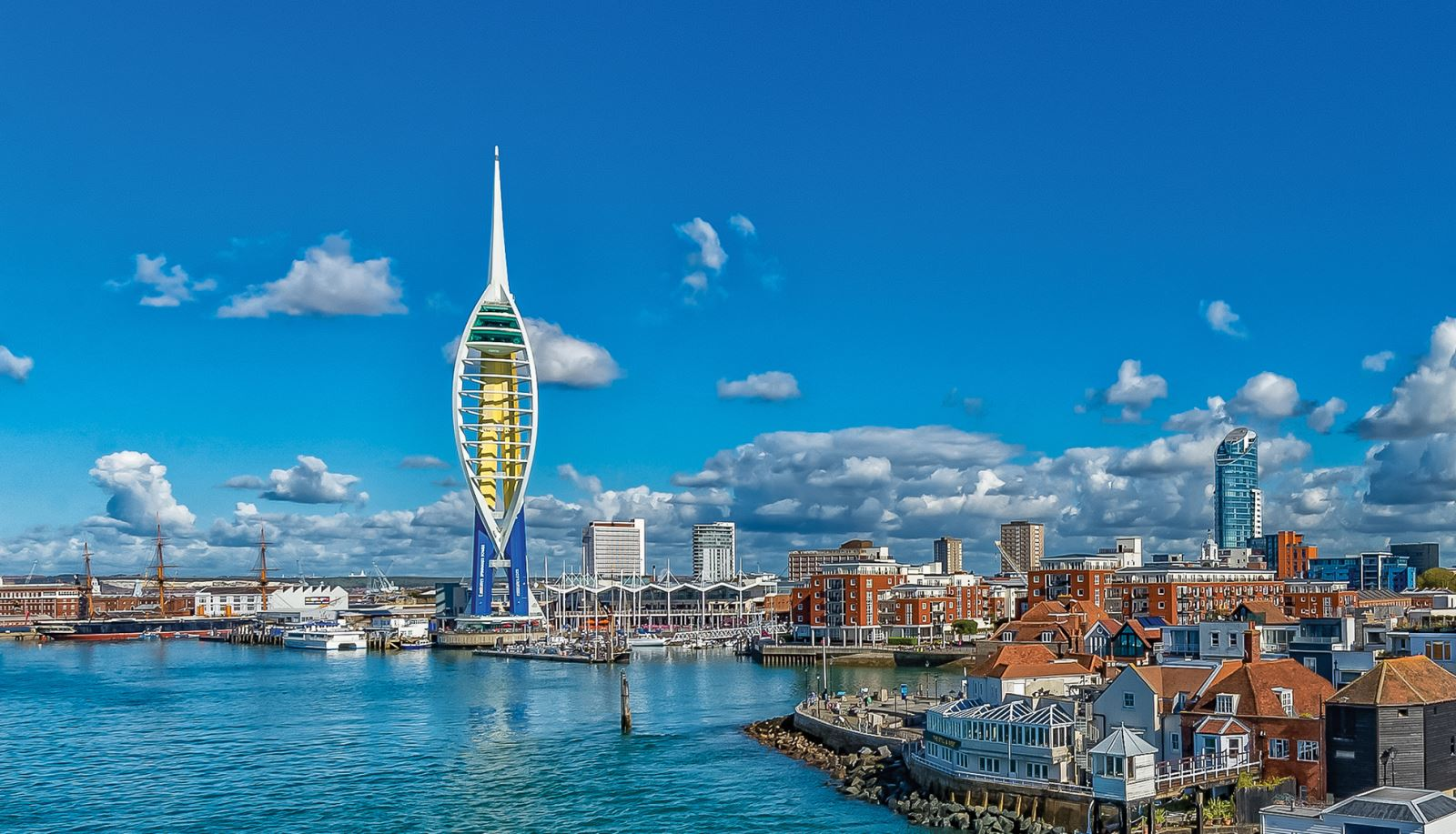 The water font and Spinnaker Tower in the city of Portsmouth