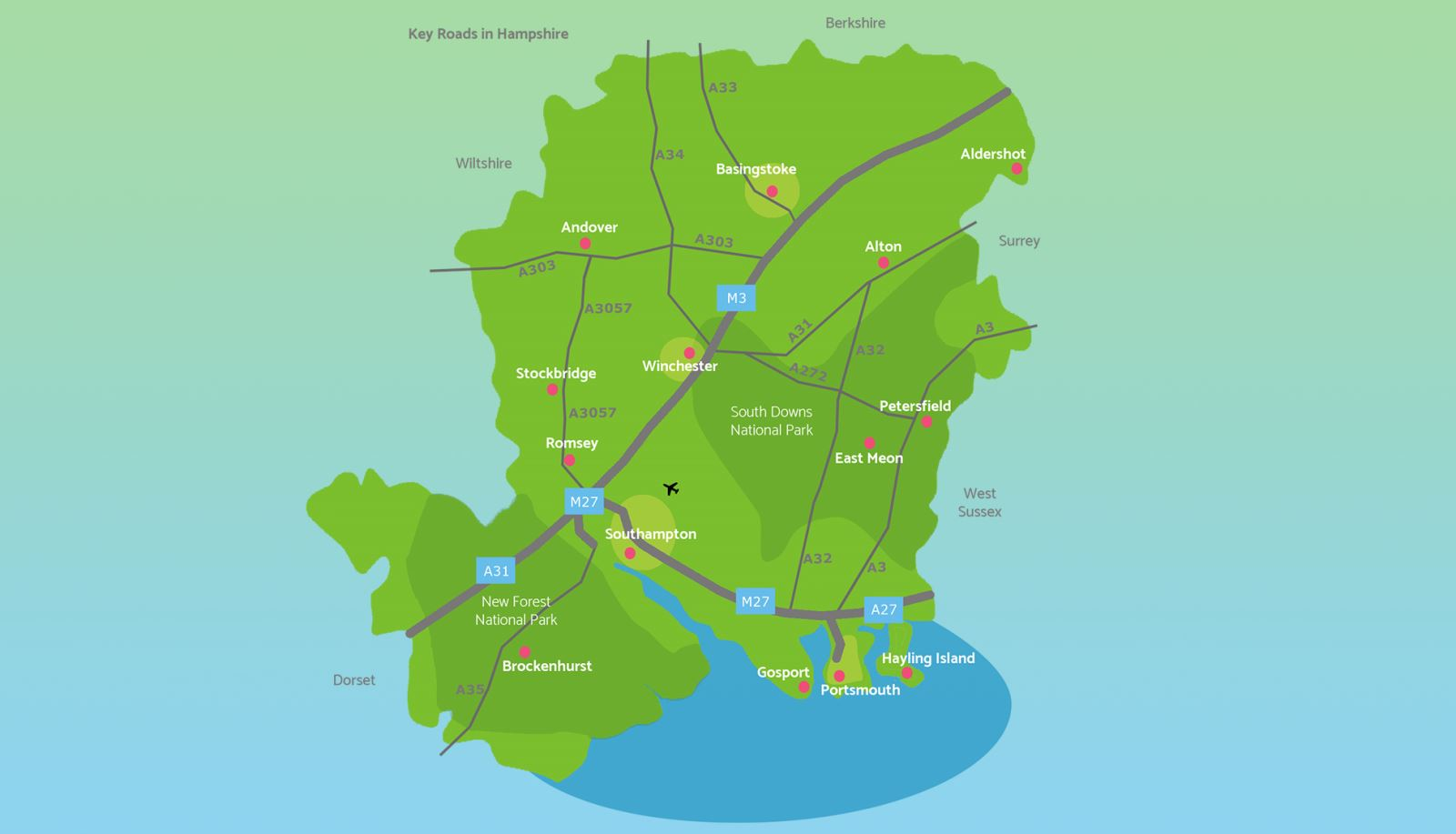 Map of Hampshire showing key roads, towns and cities