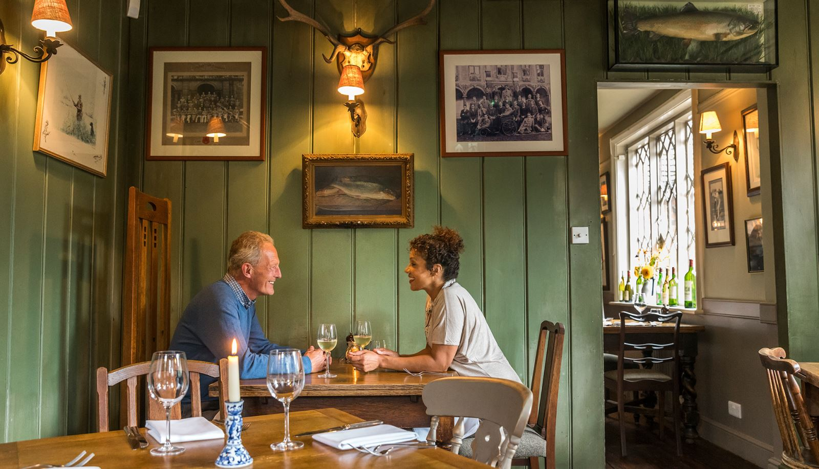 Couple Eating Dinner at Hampshire Pub