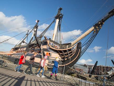 Children and HMS Victory at Portsmouth Historic Dockyard