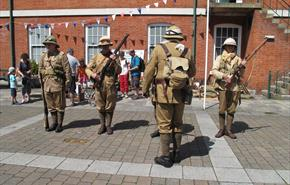 Re-enactors outside The Royal Green Jackets (Rifles) Museum