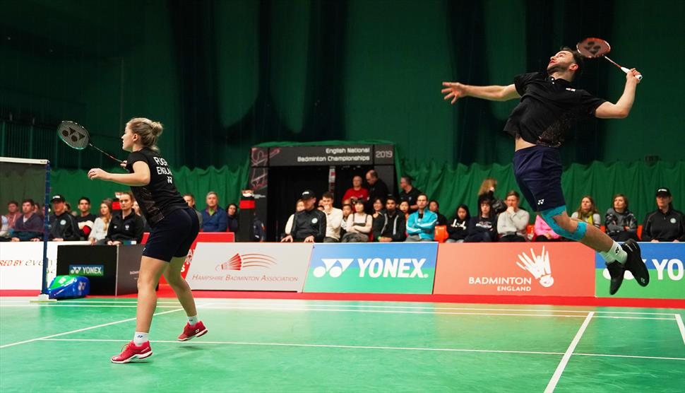 Ben Lane and Jess Pugh at the English National Badminton Championships - Westgate Badminton Centre in Winchester