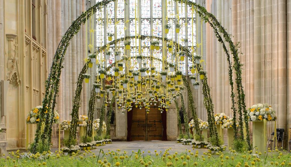 Winchester Cathedral Flower Festival 2018 - Cathedral Nave with flowers